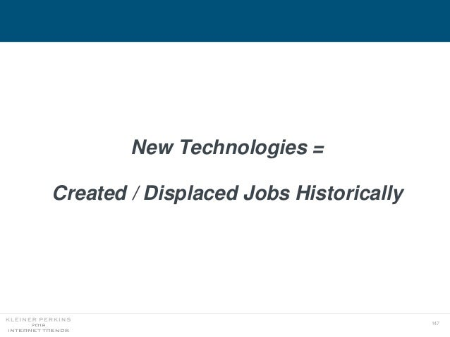147 New Technologies = Created / Displaced Jobs Historically