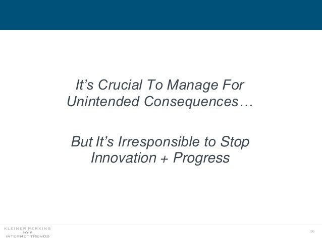 36 It's Crucial To Manage For Unintended Consequences… But It's Irresponsible to Stop Innovation + Progress