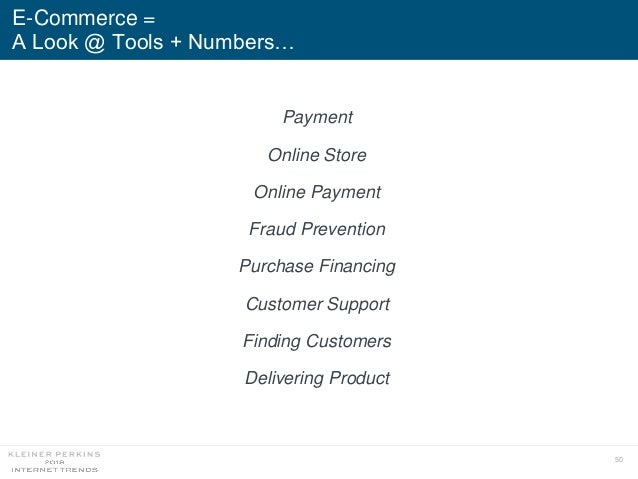 50 E-Commerce = A Look @ Tools + Numbers… Payment Online Store Online Payment Fraud Prevention Purchase Financing Customer...