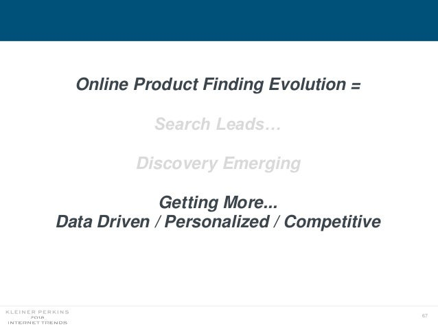 67 Online Product Finding Evolution = Search Leads… Discovery Emerging Getting More... Data Driven / Personalized / Compet...