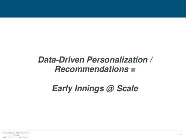 78 Data-Driven Personalization / Recommendations = Early Innings @ Scale