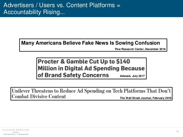 98 Advertisers / Users vs. Content Platforms = Accountability Rising... The Wall Street Journal, February 2018 Adweek, Jul...