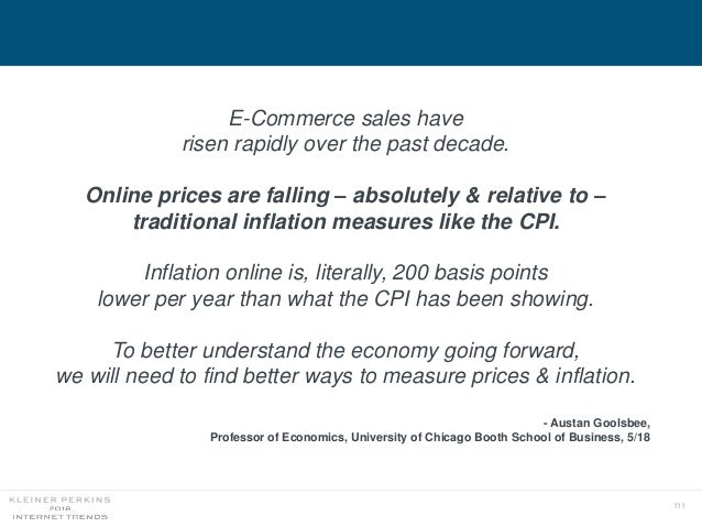 111 E-Commerce sales have risen rapidly over the past decade. Online prices are falling – absolutely & relative to – tradi...
