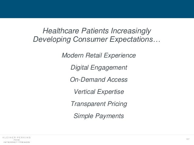 137 Healthcare Patients Increasingly Developing Consumer Expectations… Modern Retail Experience Digital Engagement On-Dema...