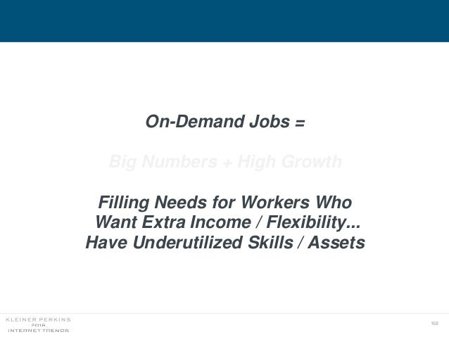168 On-Demand Jobs = Big Numbers + High Growth Filling Needs for Workers Who Want Extra Income / Flexibility... Have Under...