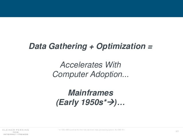 177 Data Gathering + Optimization = Accelerates With Computer Adoption... Mainframes (Early 1950s*)… * In 1952 IBM launch...