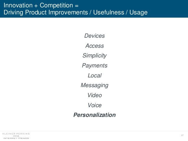 27 Devices Access Simplicity Payments Local Messaging Video Voice Personalization Innovation + Competition = Driving Produ...