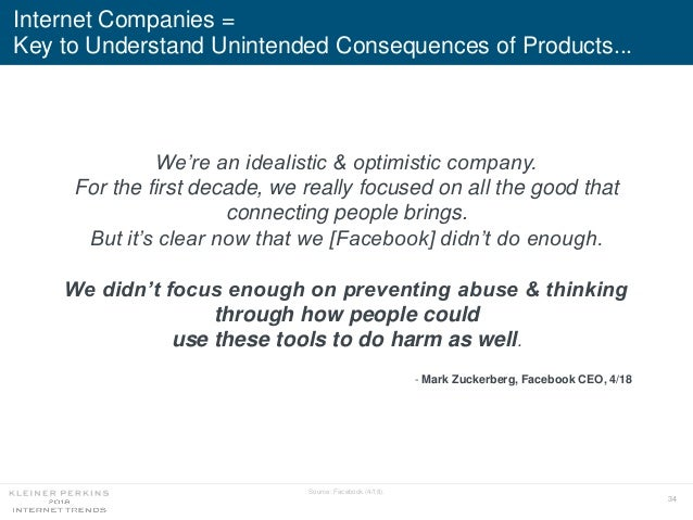 34 Internet Companies = Key to Understand Unintended Consequences of Products... Source: Facebook (4/18). We're an idealis...
