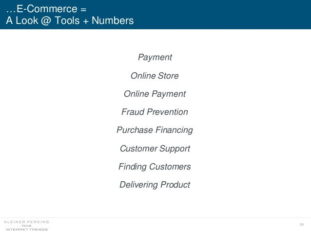 59 …E-Commerce = A Look @ Tools + Numbers Payment Online Store Online Payment Fraud Prevention Purchase Financing Customer...