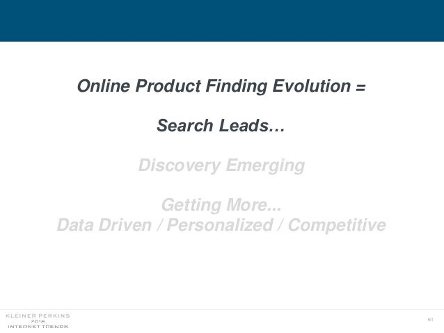 61 Online Product Finding Evolution = Search Leads… Discovery Emerging Getting More... Data Driven / Personalized / Compet...