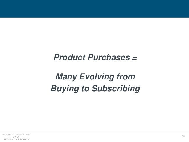 80 Product Purchases = Many Evolving from Buying to Subscribing
