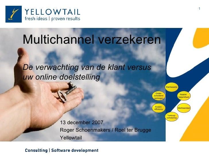 Multichannel verzekeren De verwachting van de klant versus uw online doelstelling 13 december 2007 Roger Schoenmakers / Ro...