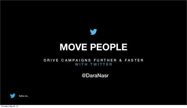 Twitter, Inc.MOVE PEOPLED R I V E C A M P A I G N S F U R T H E R & F A S T E RW I T H T W I T T E R@DaraNasrThursday, May...