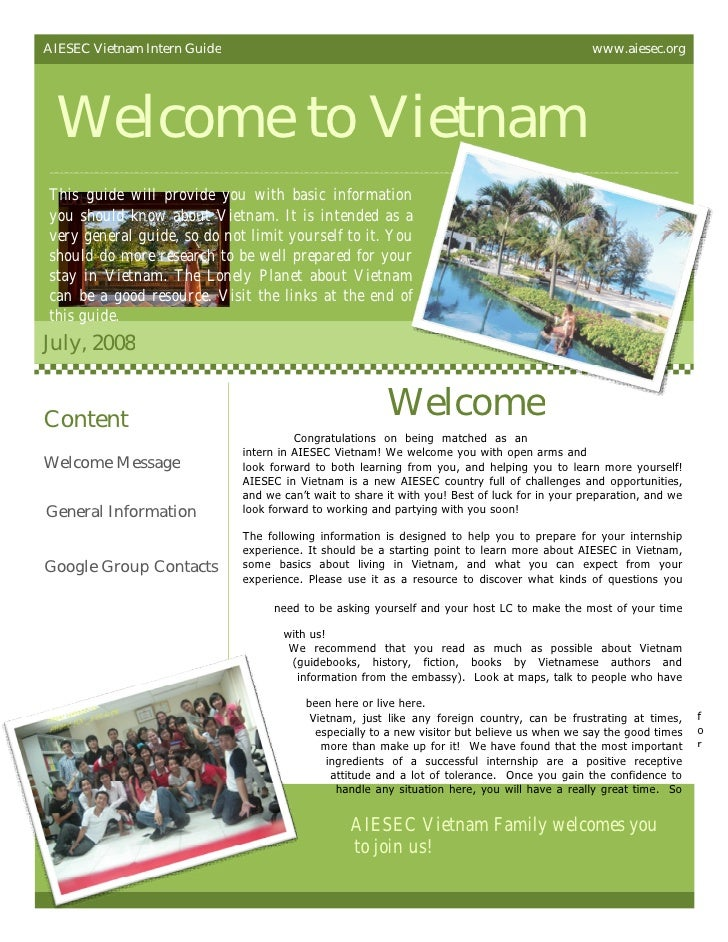 AIESEC Vietnam Intern Guide                                                                     www.aiesec.org Welcome to ...