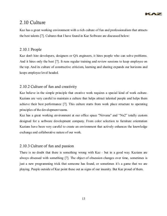 sample of internship report for student