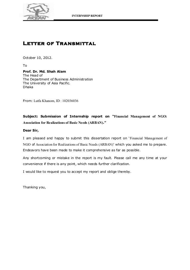 Internship internship reportletter of transmittaloctober 10 2012prof spiritdancerdesigns Choice Image
