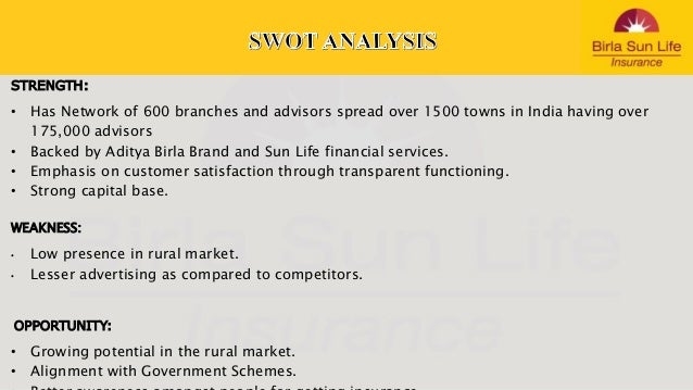 product analysis of birla sunlife insurance Project report on birla sun life  51530937 consumer behavior towards birla sunlife insurance limited  birla sun life insurance product portfolio project.