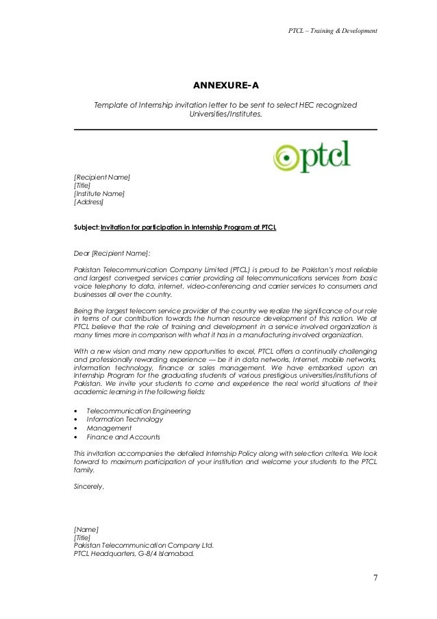 Internship policy 1 6 7 ptcl training development annexure a template of internship invitation letter stopboris