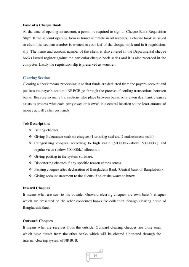 Internship report on nrb commercial bank ltd 24 16 issue of a cheque book altavistaventures Gallery