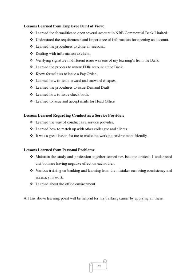 bank internship job description
