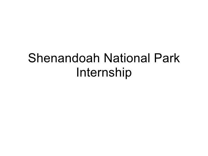 Shenandoah National Park Internship