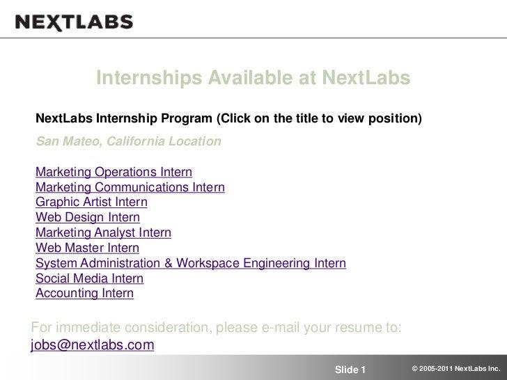 Internships Available at NextLabsNextLabs Internship Program (Click on the title to view position)San Mateo, California Lo...