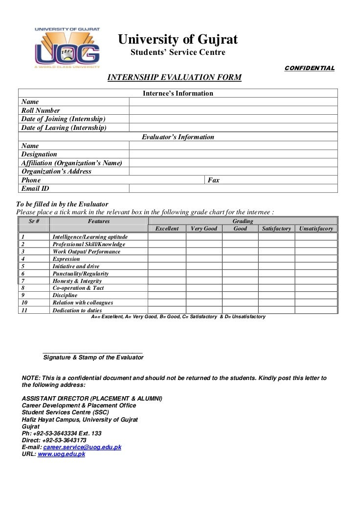 Uog Internship Evaluation Form