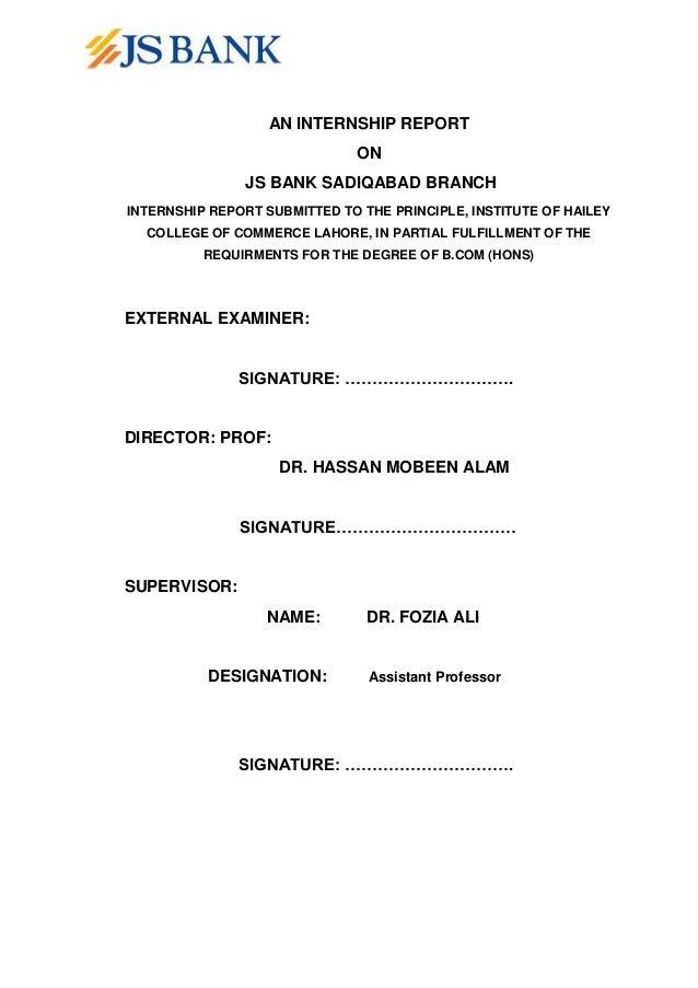 e89c96ee54b9 Internship Report of JS Bank