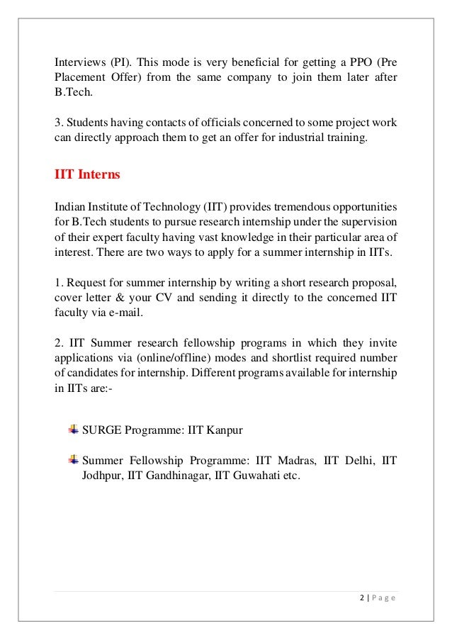 Internship guide for Industrial placement cover letter