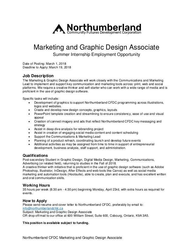 2018 Summer Internship Marketing and Graphic Design Associate