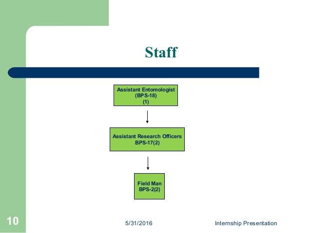 Staff Assistant Entomologist (BPS-18) (1) Assistant Research Officers BPS-17(2) Field Man BPS-2(2) 5/31/2016 Internship Pr...