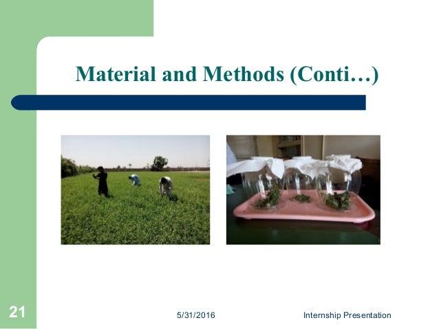 5/31/2016 Internship Presentation21 Material and Methods (Conti…)