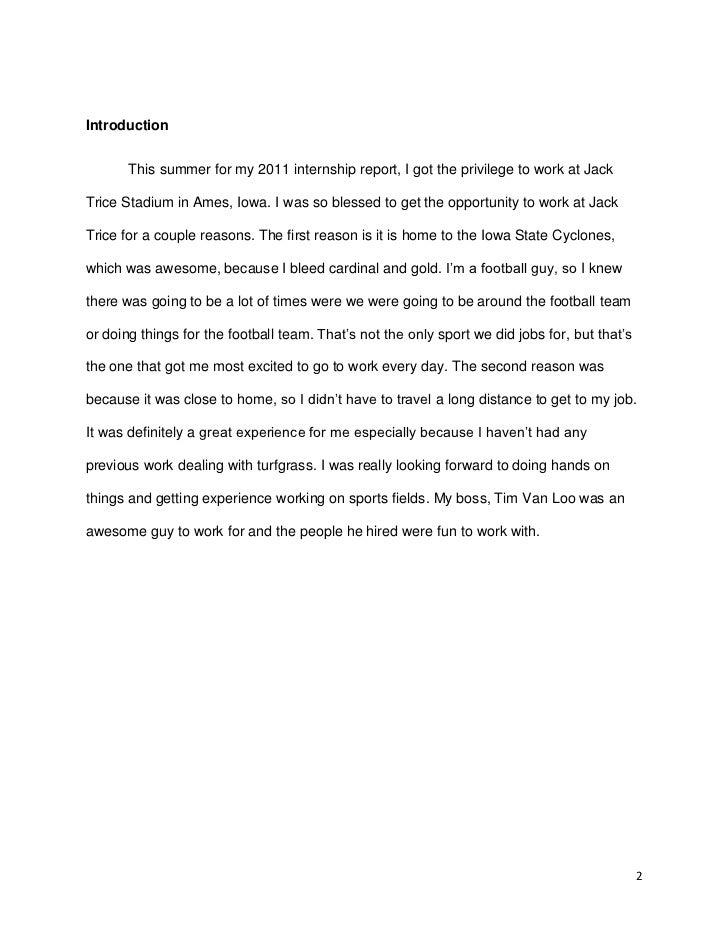 Internship Paper Final 2011 Summer Internship Report By Adam Gregersen 1 2.  Internship Report Samples
