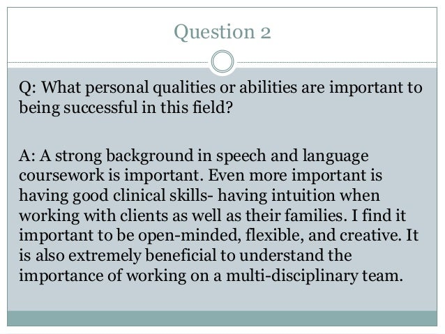 Speech-Language Pathologist Interview