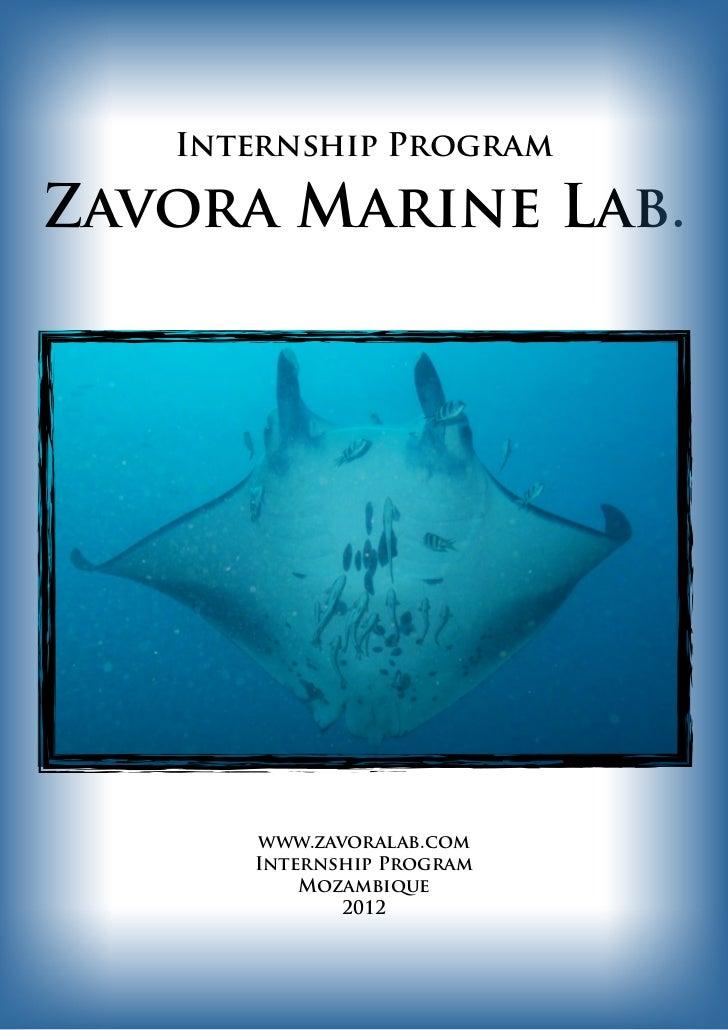 Internship ProgramZavora Marine Lab.      www.zavoralab.com      Internship Program          Mozambique             2012