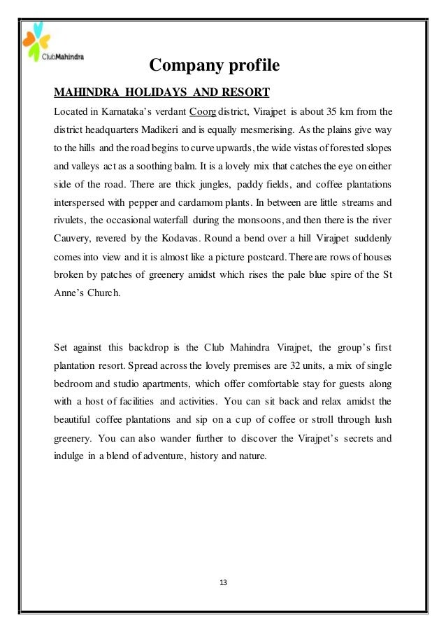 Internship Project In Club Mahindra Resorts Virajpet