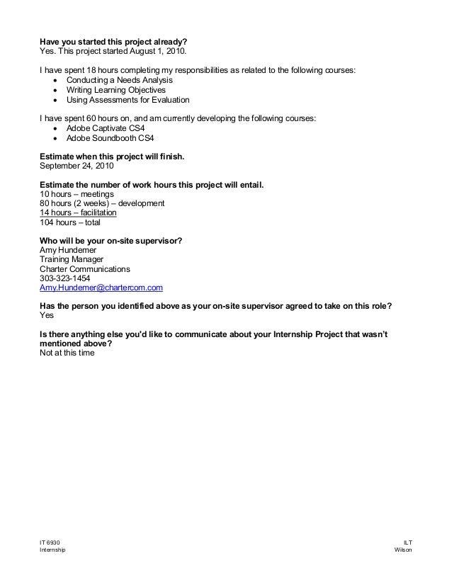 Internship Project Proposal – Internship Proposal Example