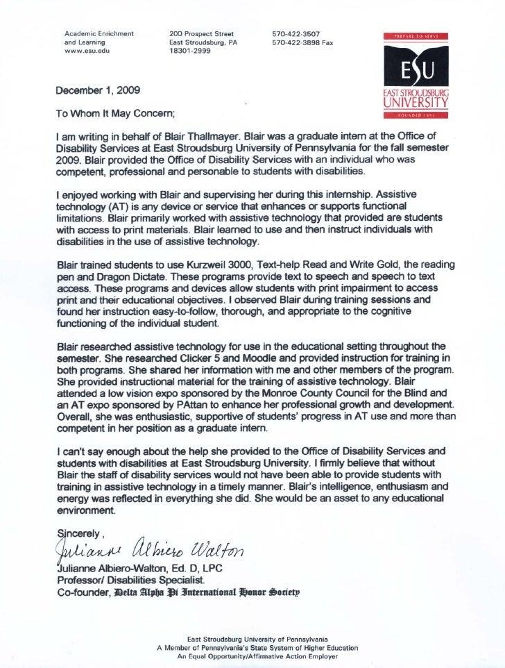 Dietetic Internship Letter of Recommendation Student Information ...