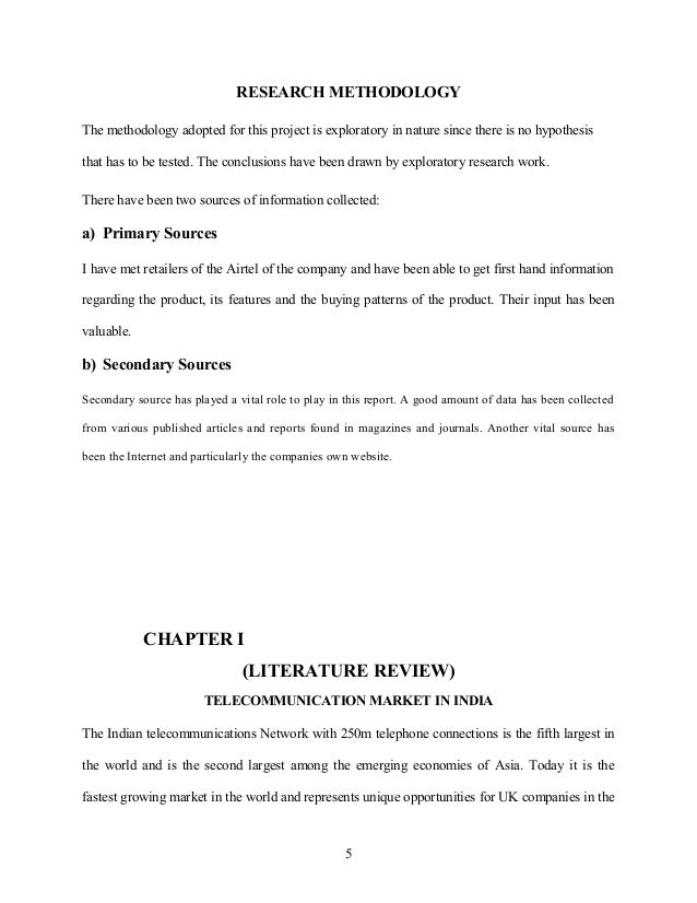 Methodology of internship report