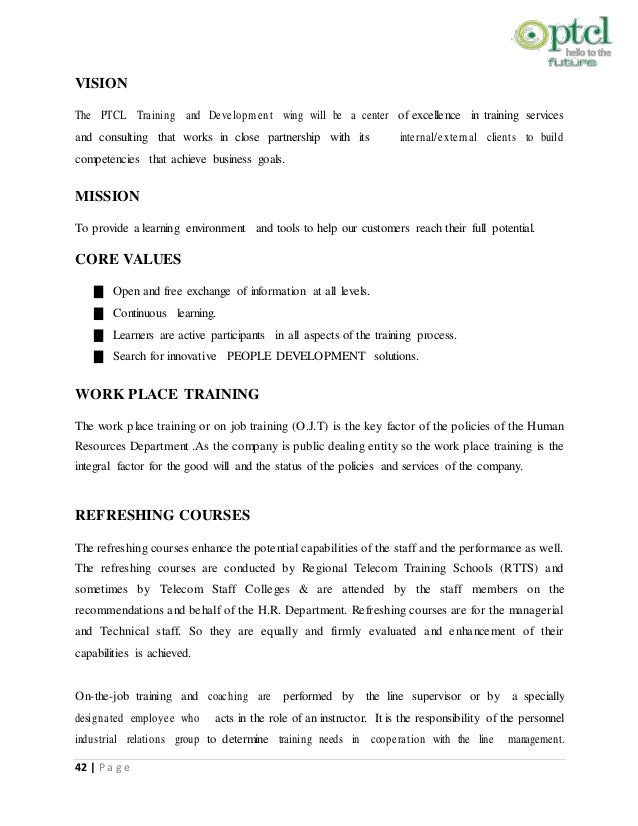 ptcl hrm internship report Ptcl internship report  the purpose of the internship report is to study the ptcl from the marketing perspective and also review the procedures and.