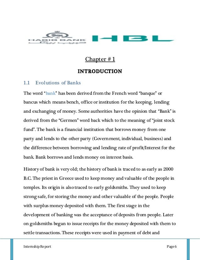internship report hbl