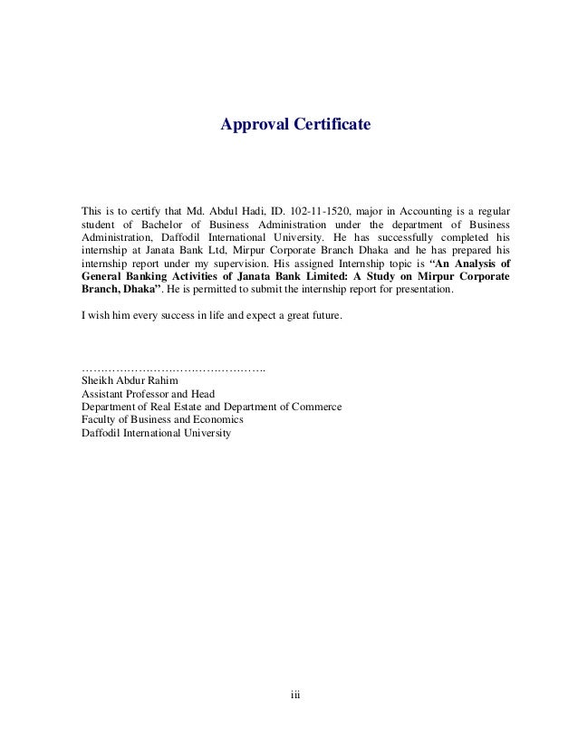 """pdf report on general banking activities of janata bank ltd Internship reportpdf p03793 1 """"© daffodil international university"""" """"an analysis of general banking activities of janata bank limited: a study on mirpur corporate branch, dhaka"""" date of submission: 24 may, 2014."""