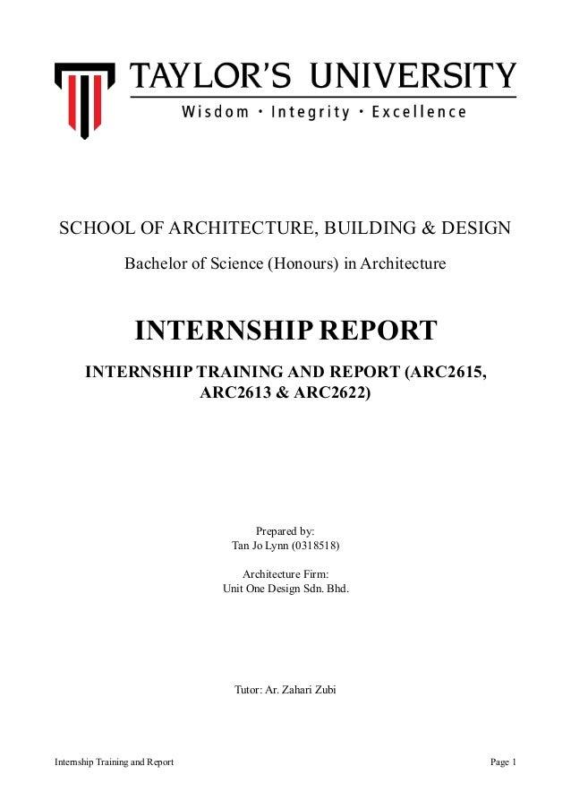 bsc  h  architecture degree sem 4 5 internship report