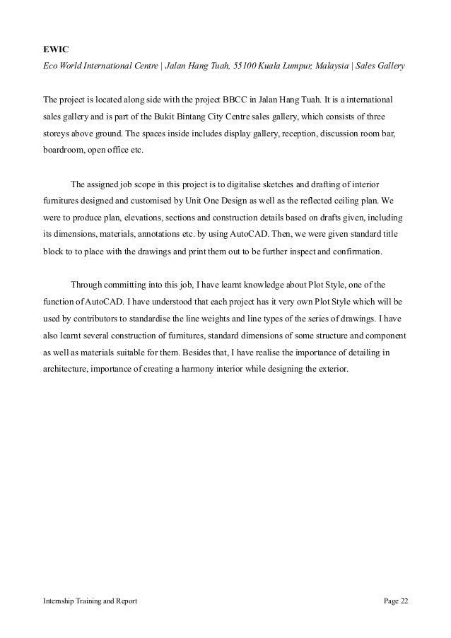 BSC H ARCHITECTURE DEGREE SEM 45 INTERNSHIP REPORT