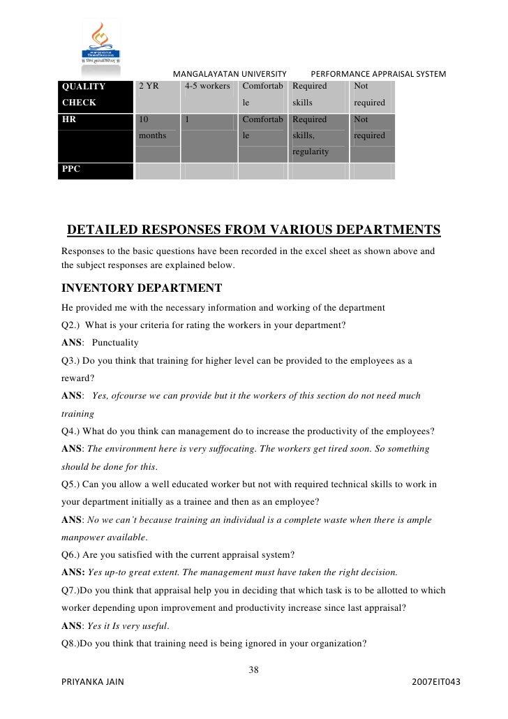 Internship Report 2007eit043 MANGALAYATAN UNIVERSITY PERFORMANCE 37PRIYANKA JAIN 2007EIT043 38