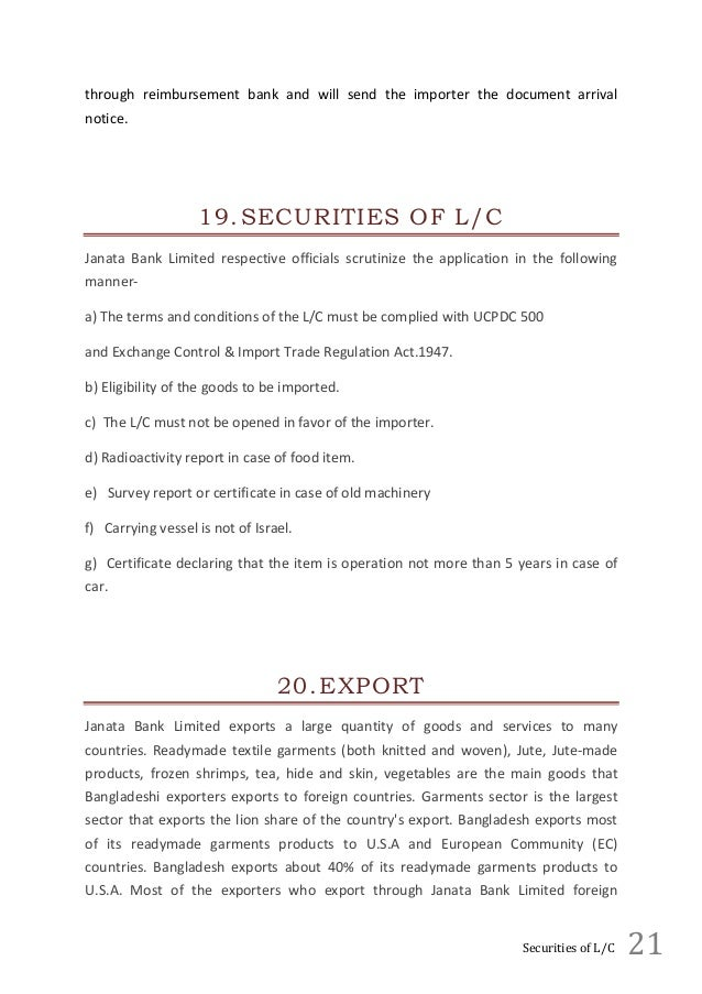 intern report of foreign exchange of janata bank ltd This report is an attempt to reflect the position of janata bank limited in the banking industry procedures, policies and activities with emphasis on foreign exchange business.