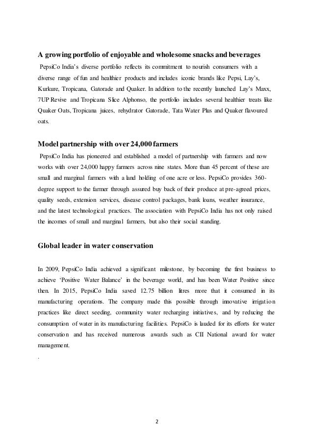 internship report of pepsico University of the punjab, gujranwala campus page 1 internship report on nbc introduction to report this report is about pepsi co (nau-bahar bottling company) this report is the part of my bcom(hons) degree which is compulsory for us to complete internship in any organization.