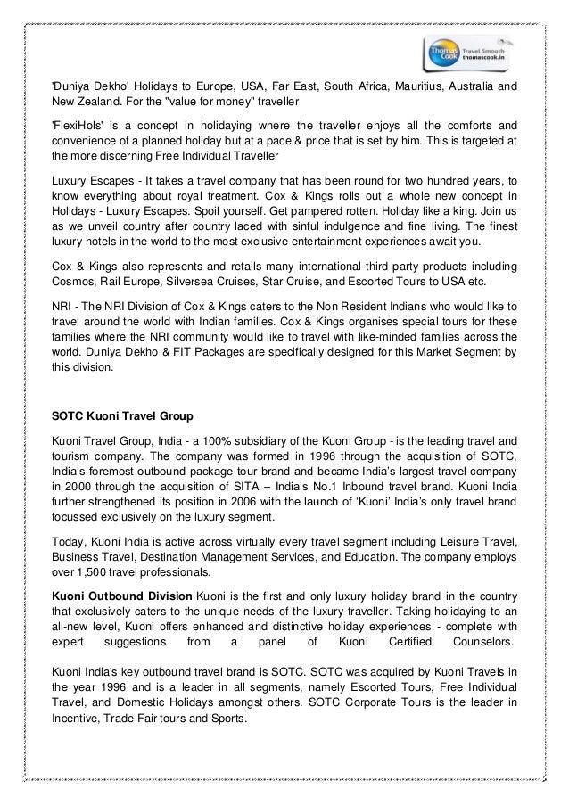 Internship report thomas cook india ltd