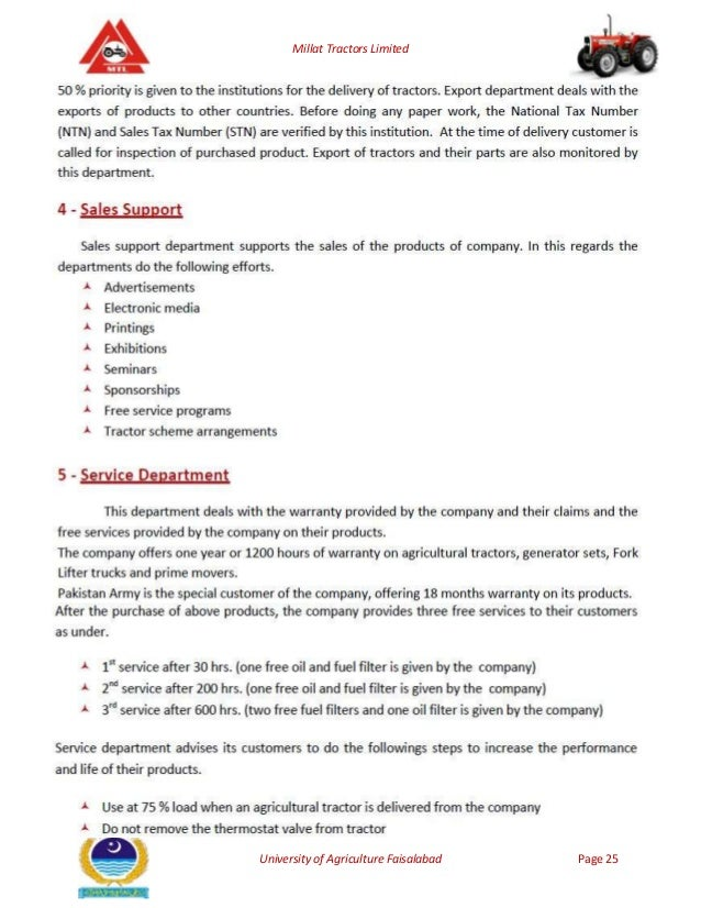 millat tractors limited This whole report starts with the brief introduction of the millat tractors limited the introduction consists of company background, products.