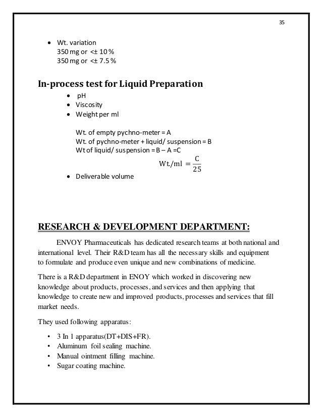 Internship report for pharmaceutical industry
